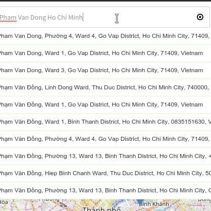 Bản đồ Bất động sản - 4.1. Tìm kiếm bất động sản dựa trên vị trí trên bản đồ dựa trên tên đường và thành phố
