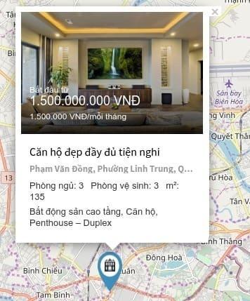 Bản đồ bất động sản - 3. Thông tin sơ lược bất động sản để ra quyết định vào trang chi tiết