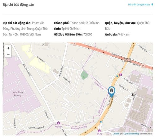 Trang chi tiết bất động sản - Bản đồ địa chỉ bất động sản